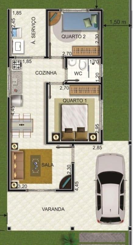 Plantas de casas com dois quartos simples com varanda e cozinha americana