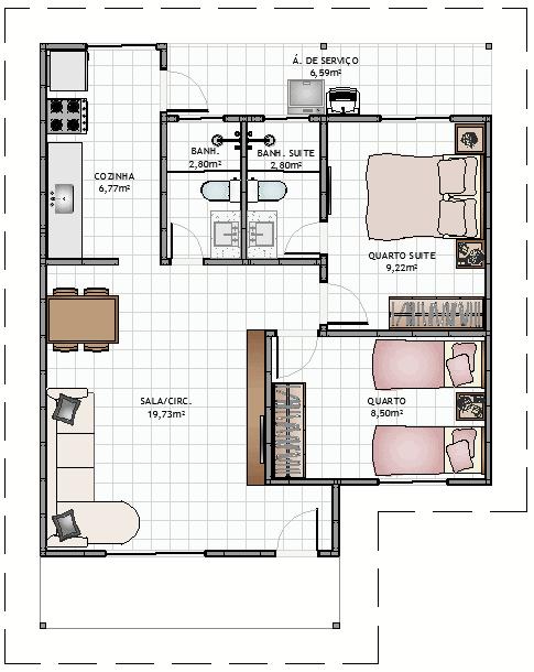 Plantas de casas com dois quartos simples