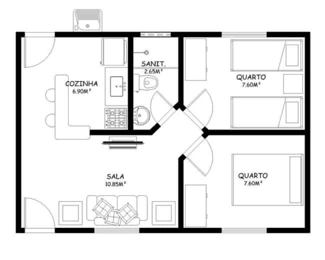 Plantas de casas pequenas com dois quartos e um banheiro