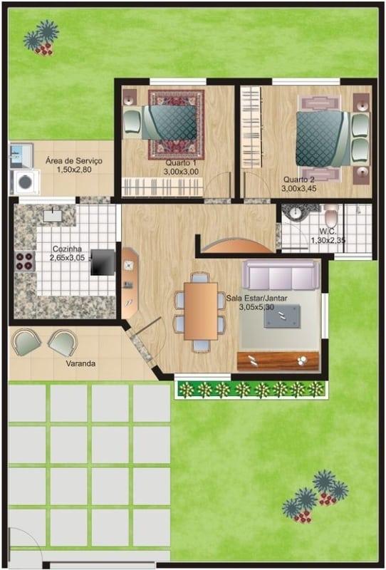 Plantas de casas simples com um banheiro e dois quartos