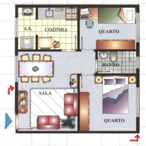 Plantas para casas pequenas com dois quartos