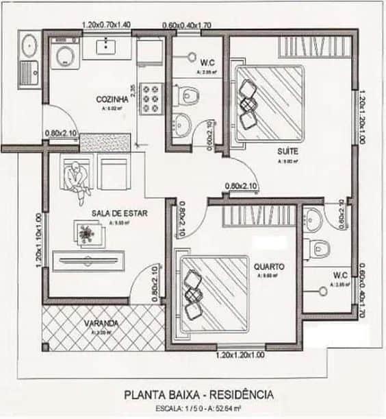 Plantas simples para casas com dois quartos