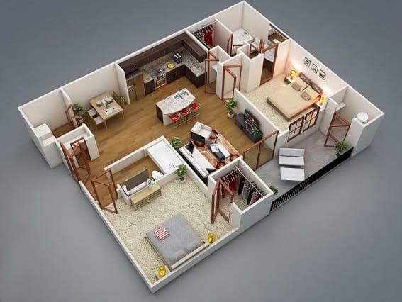 Tipos de plantas de casas com dois quartos e cozinha americana