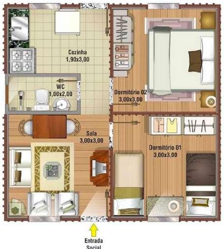 Veja esses modelos de plantas de casas com dois quartos