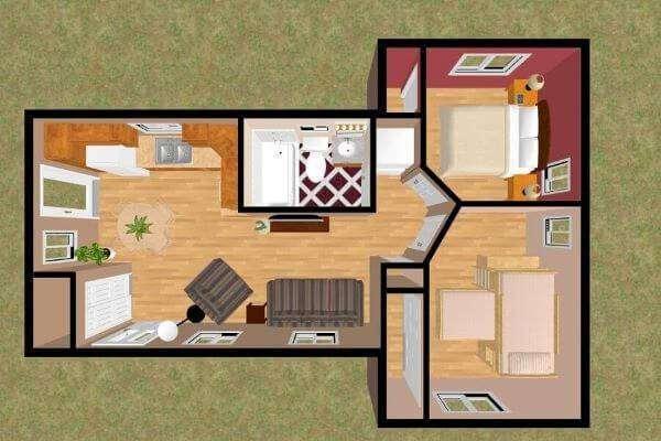 planta de casa pequena com dois quartos