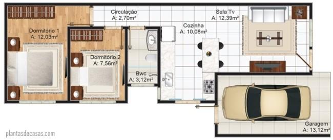 planta de casa simples garagem e 69 m²