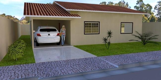 projeto de casa terrea com telhado aparente e garagem