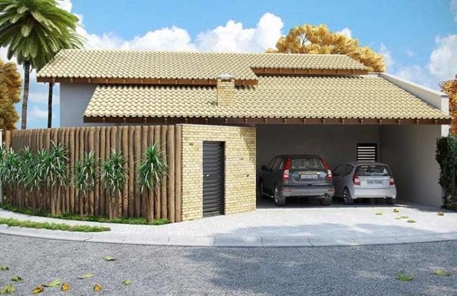 casa pequena com garagem coberta para 2 carros