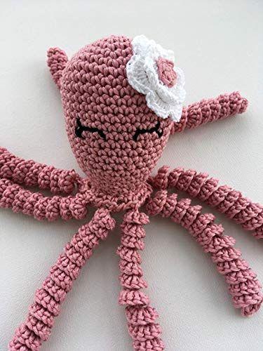 polvo de croche em rosa antigo para bebe
