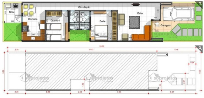casa de 100 m² com 2 quartos e garagem