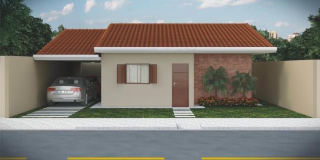 projeto de casa pequena com garagem lateral para 2 carros