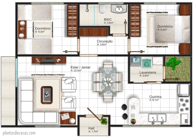 13 planta de casa pequena com 68 m² e cozinha americana