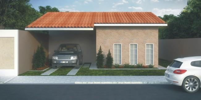 projeto de casa pequena com telhado ceramico e garagem