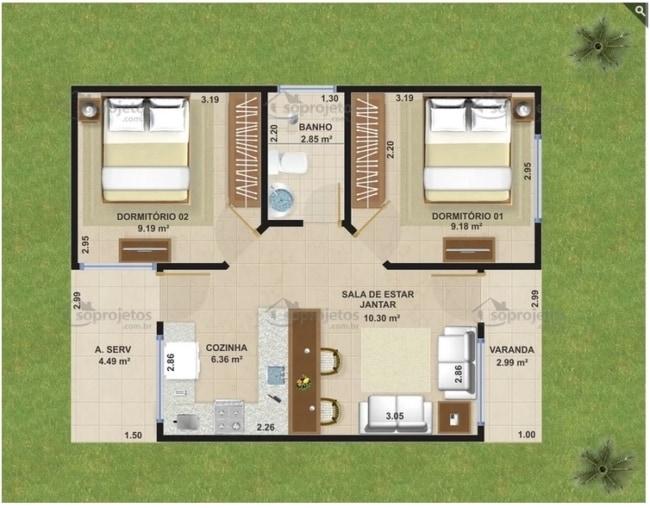 casa de 46m² com cozinha americana e 2 quartos