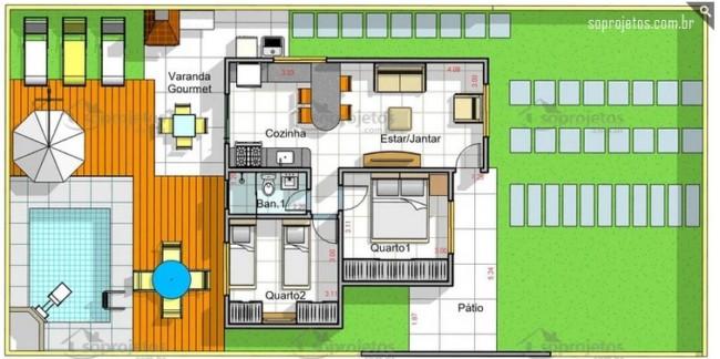 casa de 60m² com 2 quartos e varanda gourmet