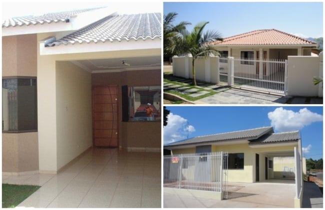 fachadas de casas pequenas com telhado aparente e garagem