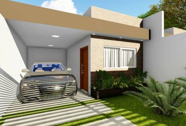 casa pequena com telhado embutido e garagem coberta