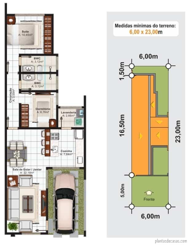 planta de casa pequena com 2 quartos e cozinha americana