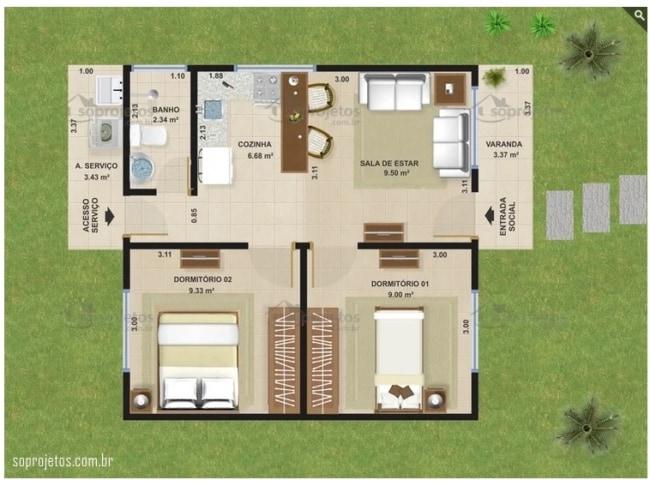 planta de casa simples e pequena com cozinha americana e 2 dormitorios