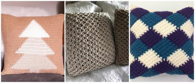 almofadas de croche tunisiano