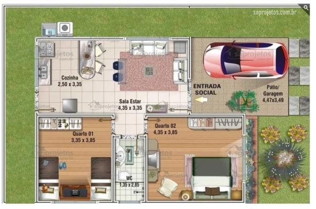 planta de casa com 2 dormitorios e cozinha americana