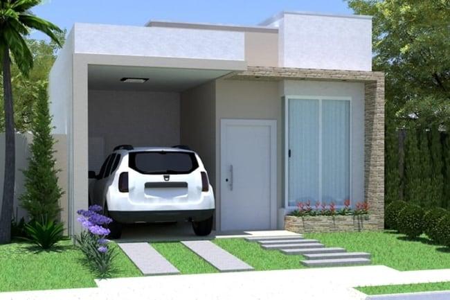 projeto de casa moderna com telhado embutido e garagem