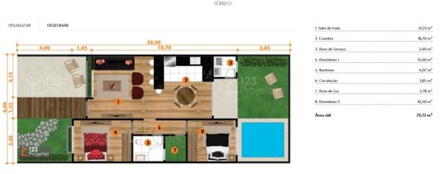 planta de casa pequena com cozinha americana e piscina