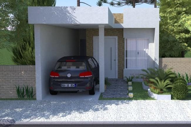 projeto de casa pequena com telhado embutido e garagem na frente