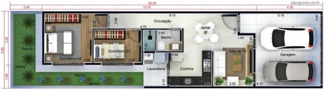 casa pequena com 2 quartos e garagem para 2 carros
