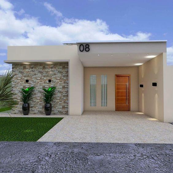 casa pequena moderna com telhado embutido e garagem na frente