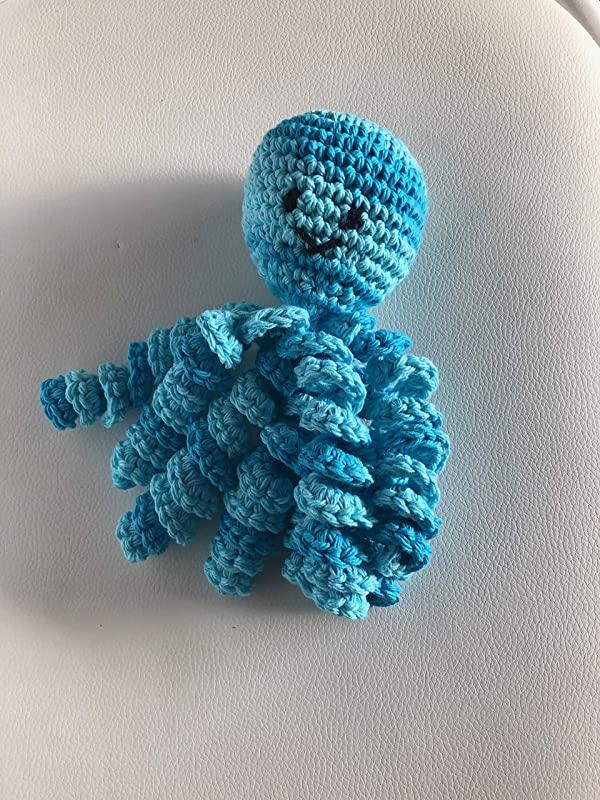 polvo de croche em azul degrade