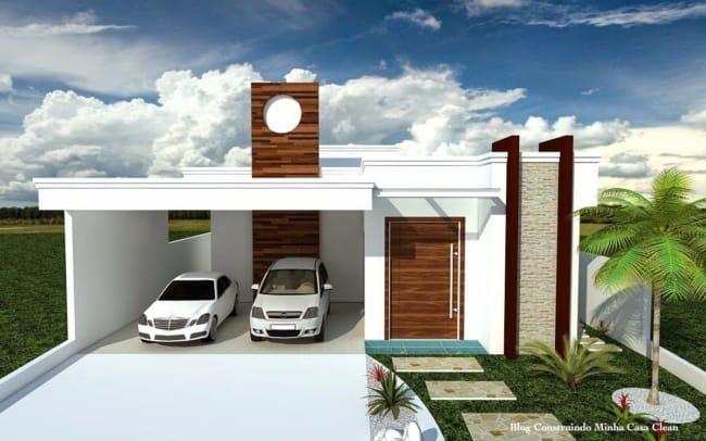projeto 3D de casa com telhado embutido e garagem