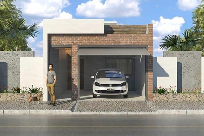 projeto de casa pequena com telhado embutido e garagem fechada