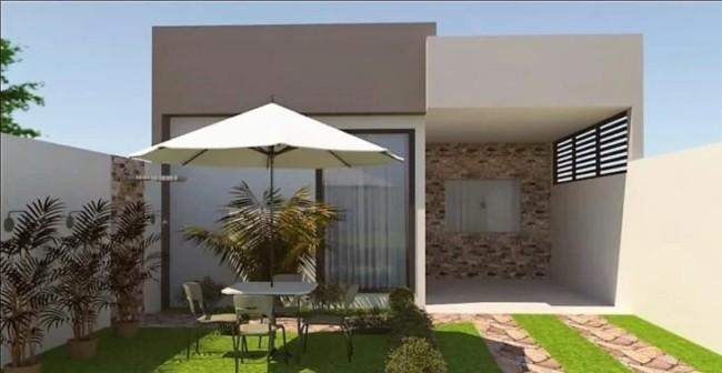 projeto de fachada com telhado embutido e garagem
