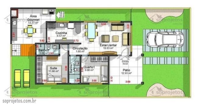 casa pequena com 2 quartos e cozinha americana