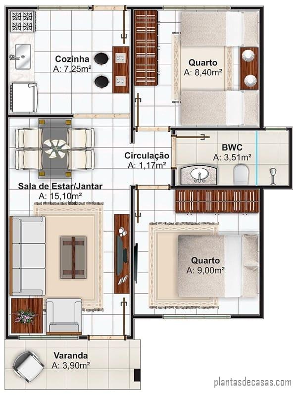 casa simples e pequena com varanda e 53 m²