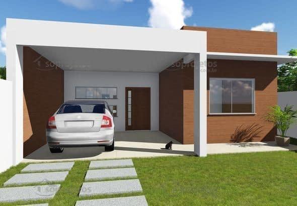 casa terrea com garagem e telhado escondido