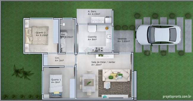 planta de casa pequena com 2 quartos e varanda pequena