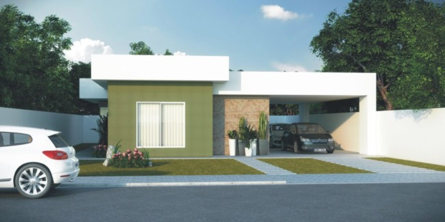casa terrea com telhado embutido e garagem lateral para 2 carros