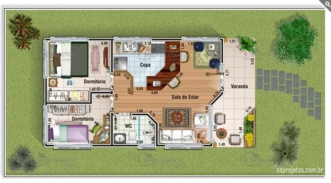 planta de casa pequena com 2 dormitorios e varanda na frente