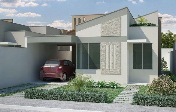 projeto de casa terrea pequena e moderna com garagem para 1 carro