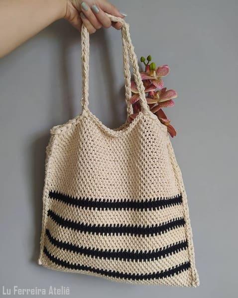 bolsa sacola de croche tunisiano