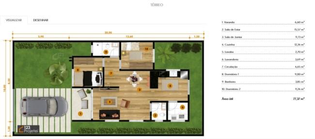 planta de casa com 2 dormitorios e varanda pequena