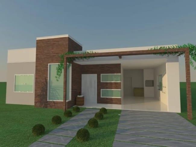projeto 3D de casa terrea pequena com garagem