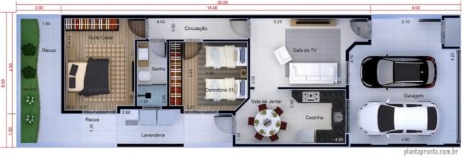 planta de casa pequena com 2 quartos e garagem para 2 carros