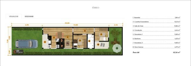 planta de casa pequena e quarto com varanda