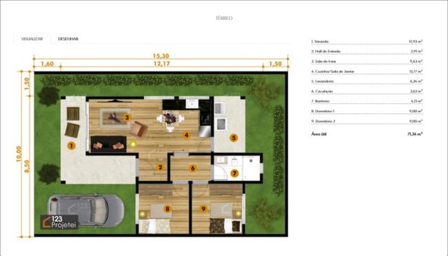 31 de casa pequena com ambientes integrados e varanda
