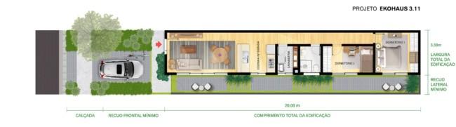 projeto de casa pequena com 2 quartos e cozinha integrada