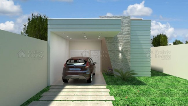 projeto de fachada de casa terrea moderna com garagem