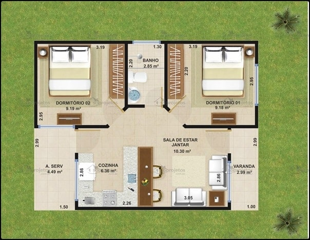 projeto de casa pequena com 2 dormitorios e varanda